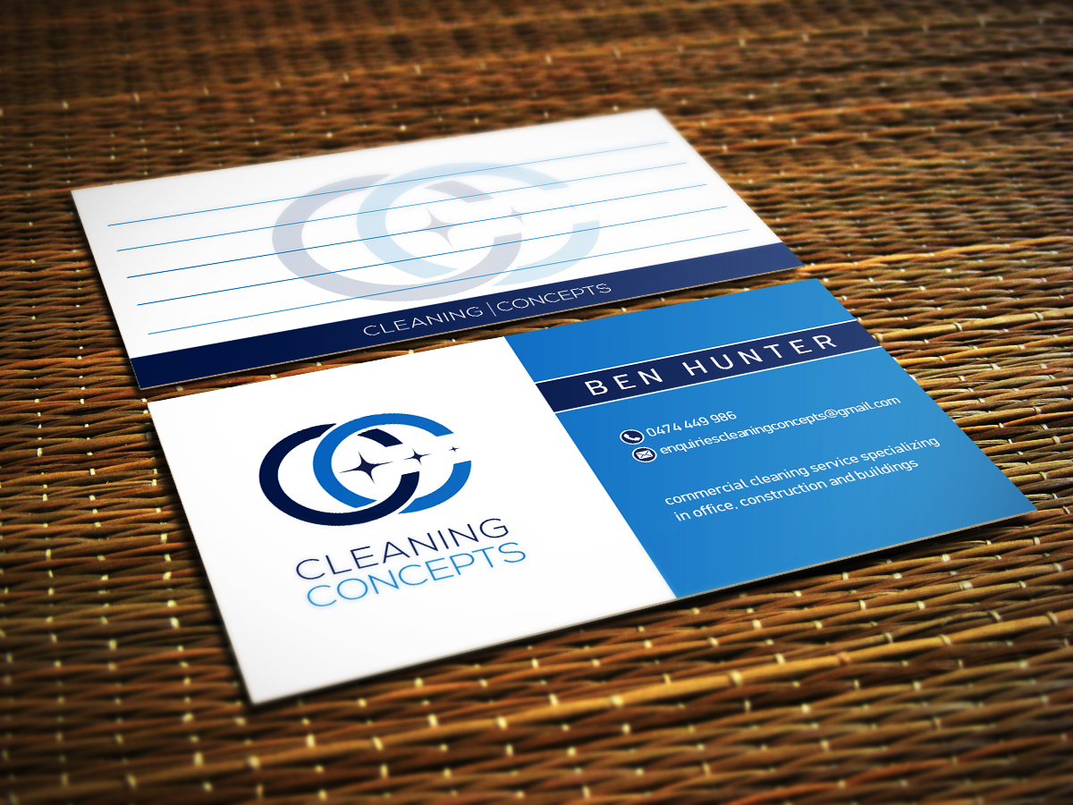 Modern professional office cleaning business card design for business card design by ivory ns for cleaning concepts pty ltd design 13655462 colourmoves