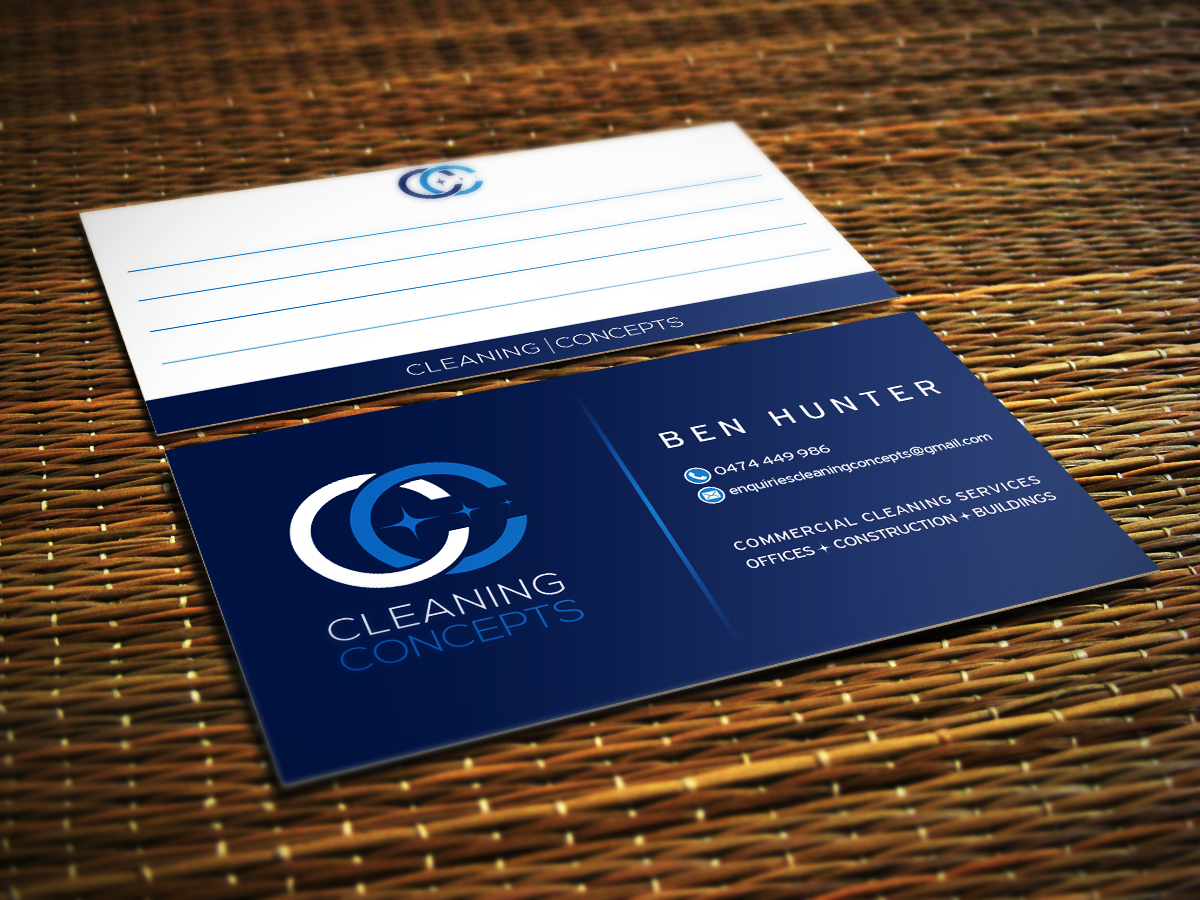 Modern professional office cleaning business card design for business card design by ivory ns for cleaning concepts pty ltd design 13662671 colourmoves Gallery