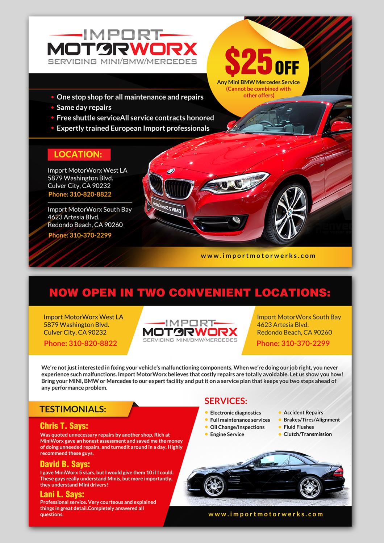 Modern, Professional, Automotive Postcard Design for Import MotorWorx in United States | Design 13649978
