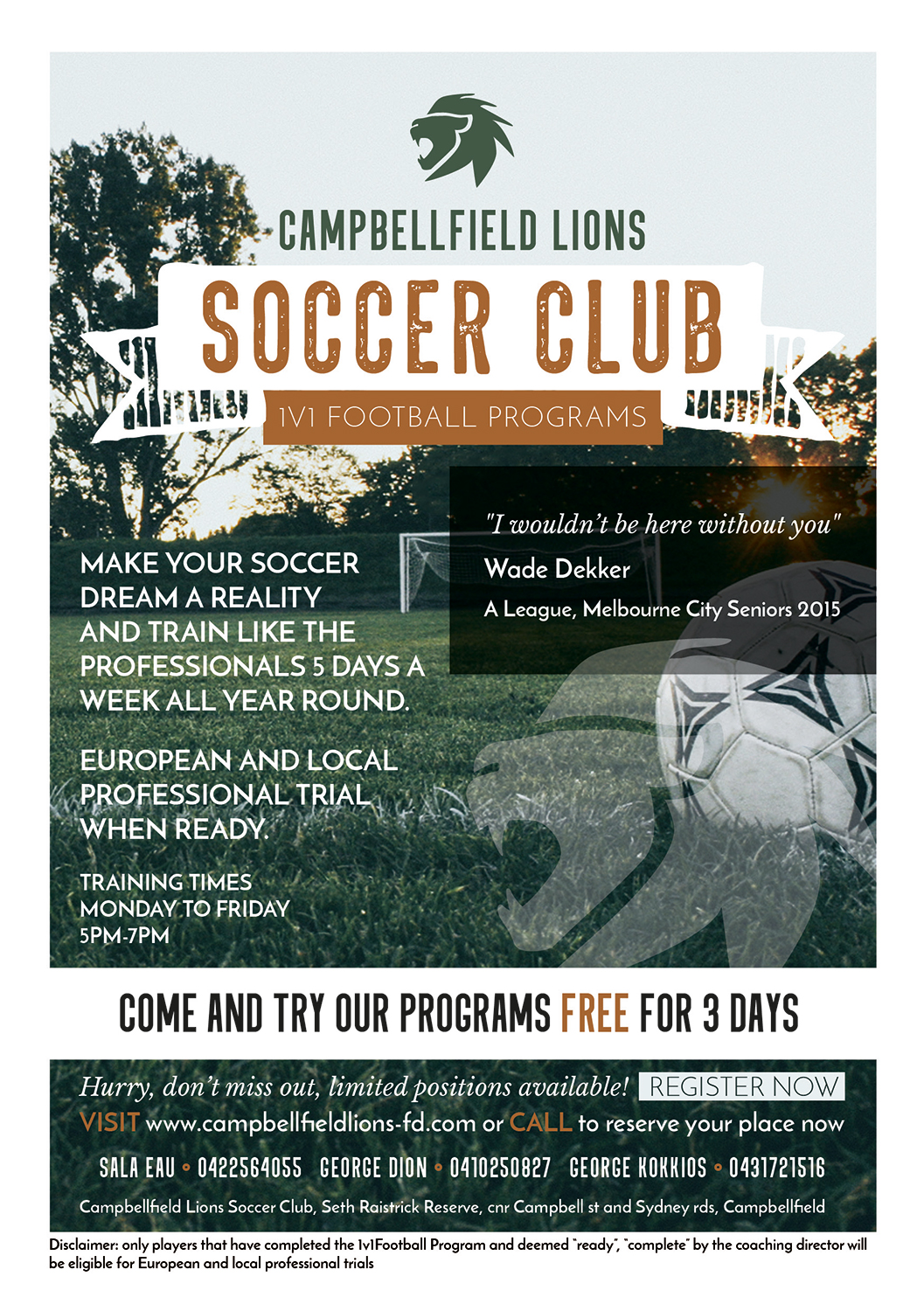 professional modern club flyer design for 1v1 football programs