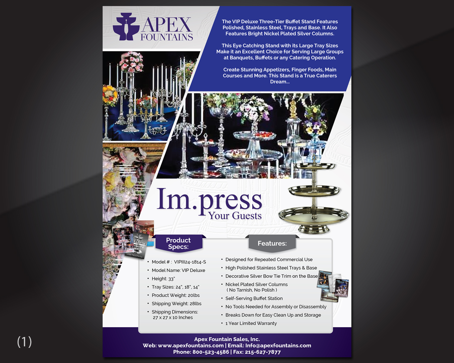 elegant professional event flyer design for apex fountains by