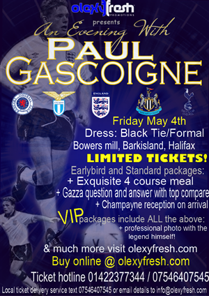 Poster Design by LemonHeart Graphix - An evening with Paul Gascoigne.   one of the En...