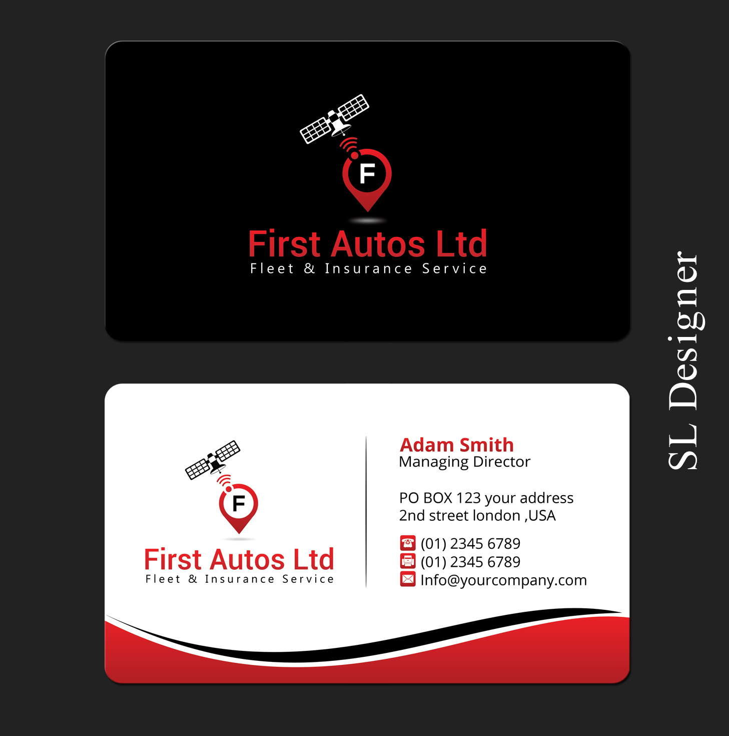 modern colorful business card design for first autos ltd by sl