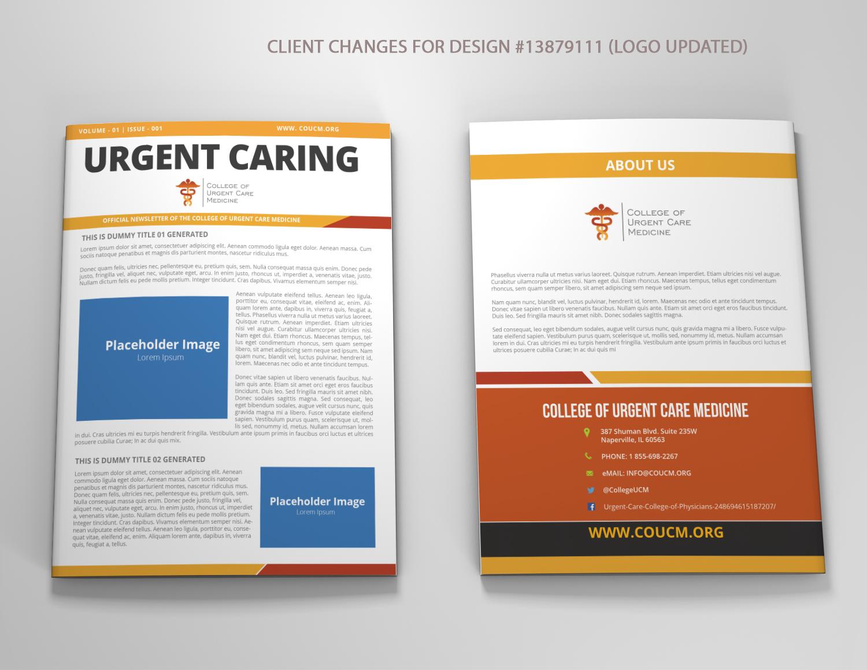 newsletter design by venkat for urgent caring professional newsletter for cucm design 13882454 - Newsletter Design Ideas