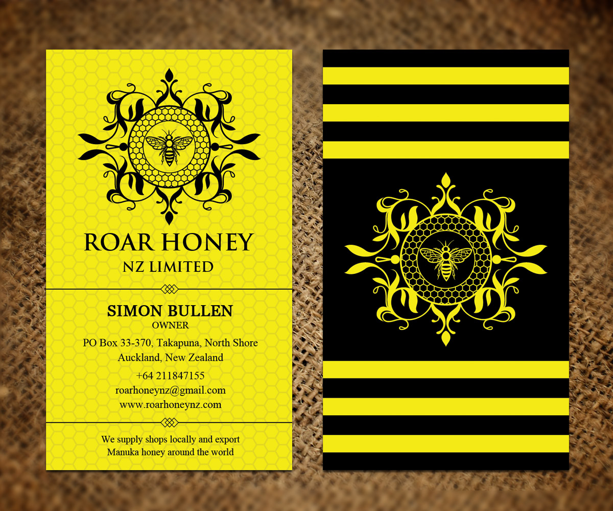 Modern professional business card design for roar honey nz limited business card design by sandaruwan for manuka honey wholesales and exports design 13836772 reheart Images