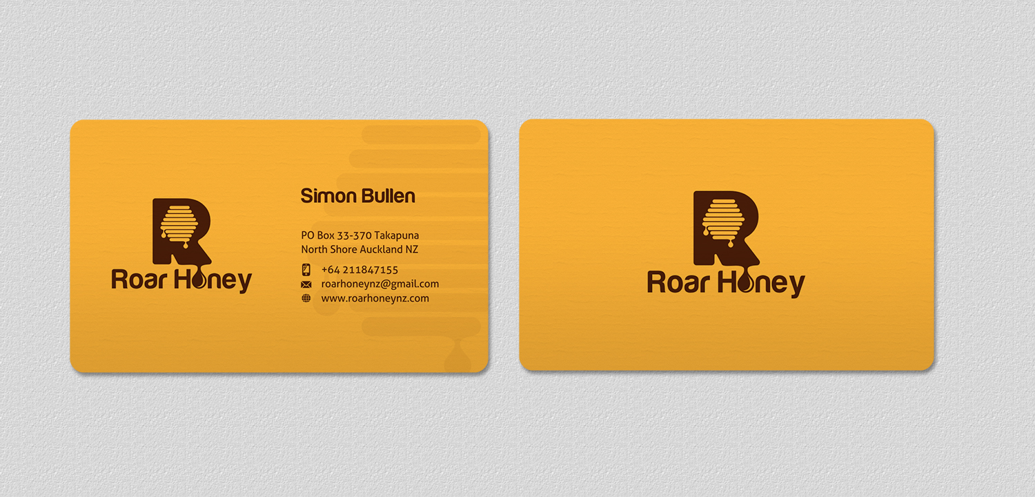 Modern professional wholesale business card design for roar honey business card design by indianashok for roar honey nz limited design 13829390 reheart Images
