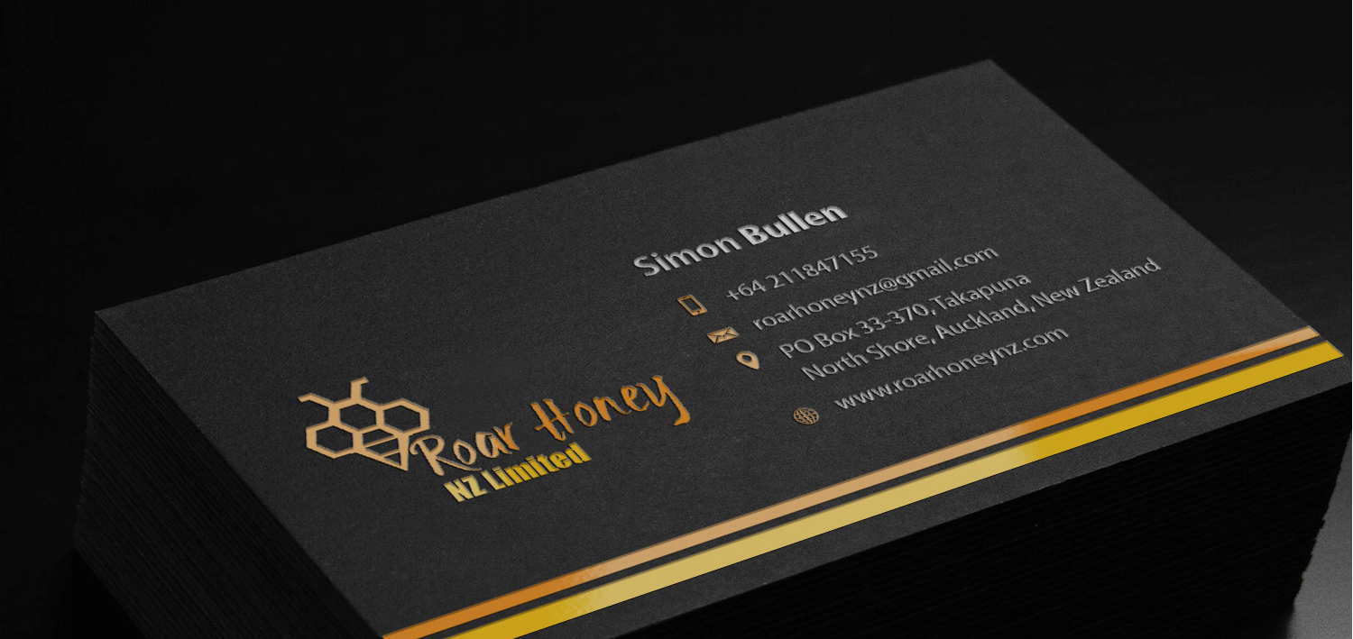 Modern professional wholesale business card design for roar honey business card design by riz for roar honey nz limited design 13855342 reheart Image collections