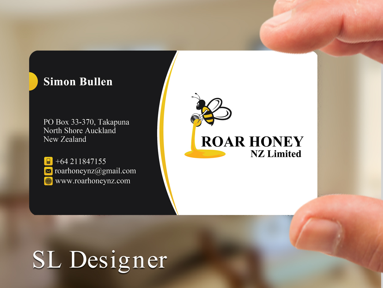 Modern professional wholesale business card design for roar honey business card design by sl designer for roar honey nz limited design 13831717 reheart Image collections