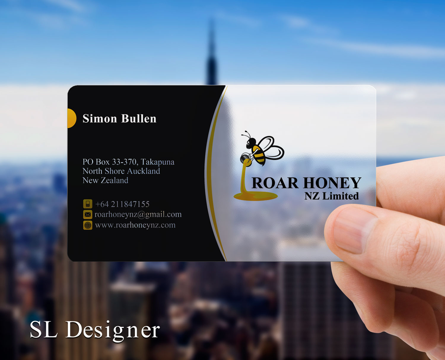 Modern professional wholesale business card design for roar honey business card design by sl designer for roar honey nz limited design 13831764 reheart Image collections