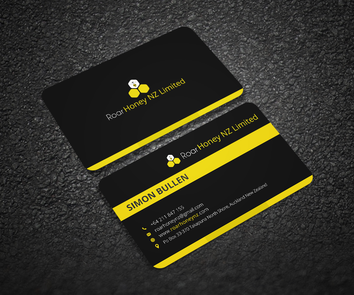 Modern professional wholesale business card design for roar honey business card design by graphic flame for roar honey nz limited design 13837114 reheart Image collections