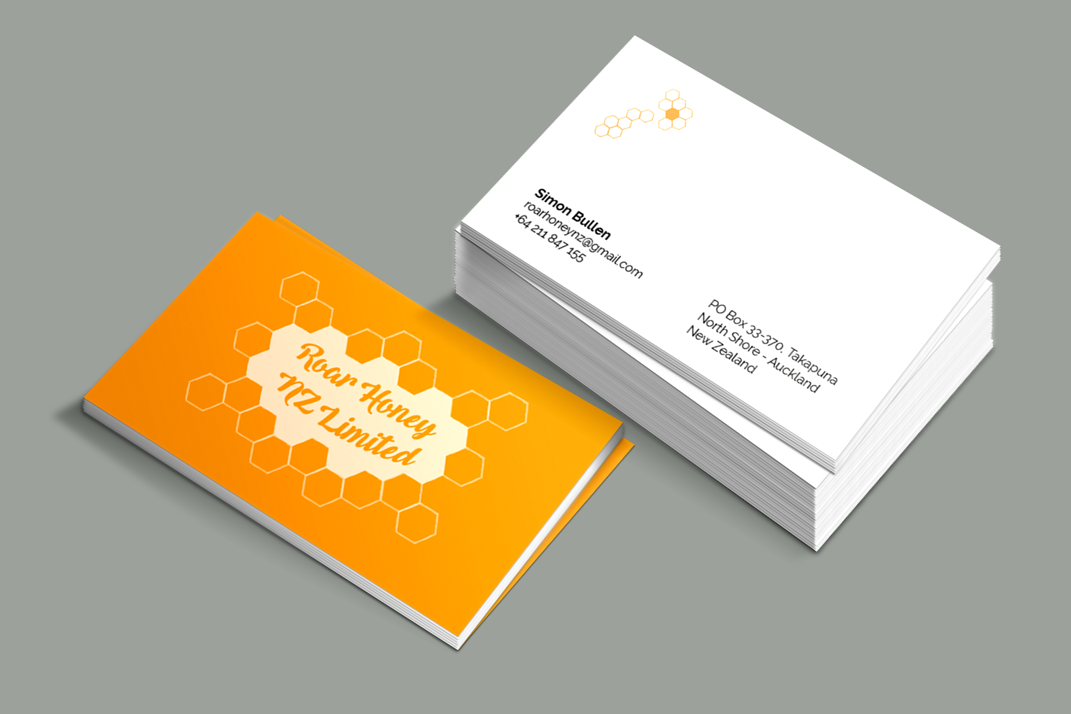 modern professional business card design for roar honey nz