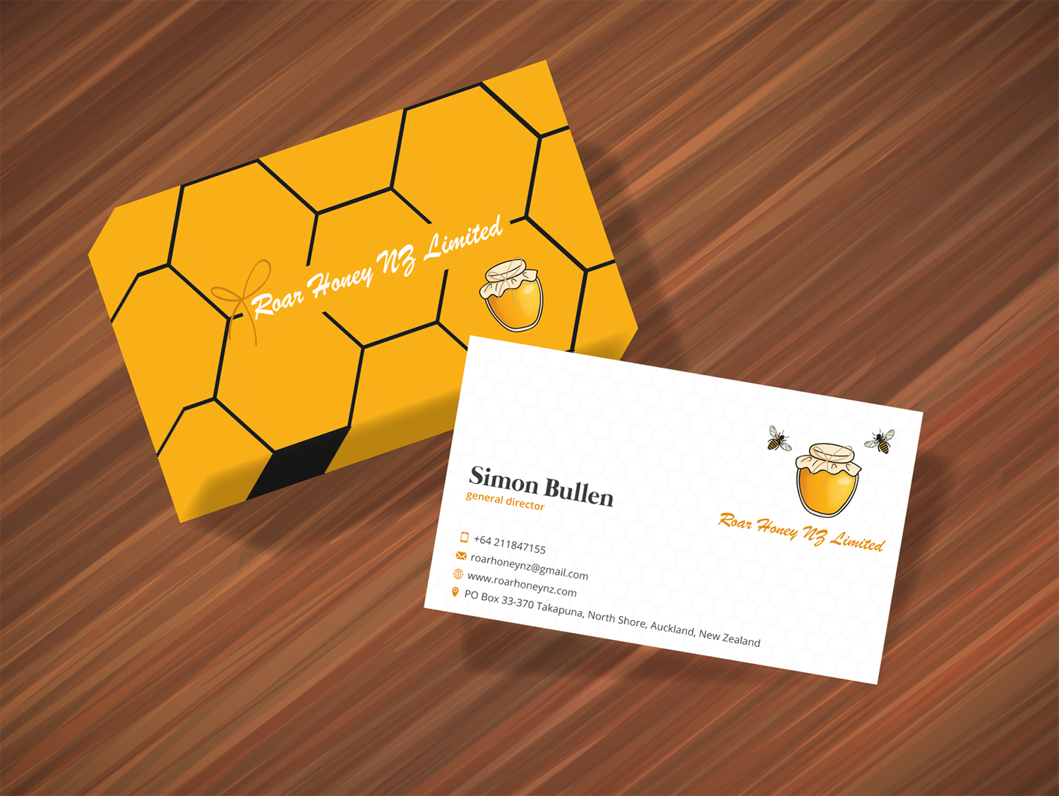 Modern professional wholesale business card design for roar honey business card design by tanama creations for roar honey nz limited design 13850831 reheart Image collections