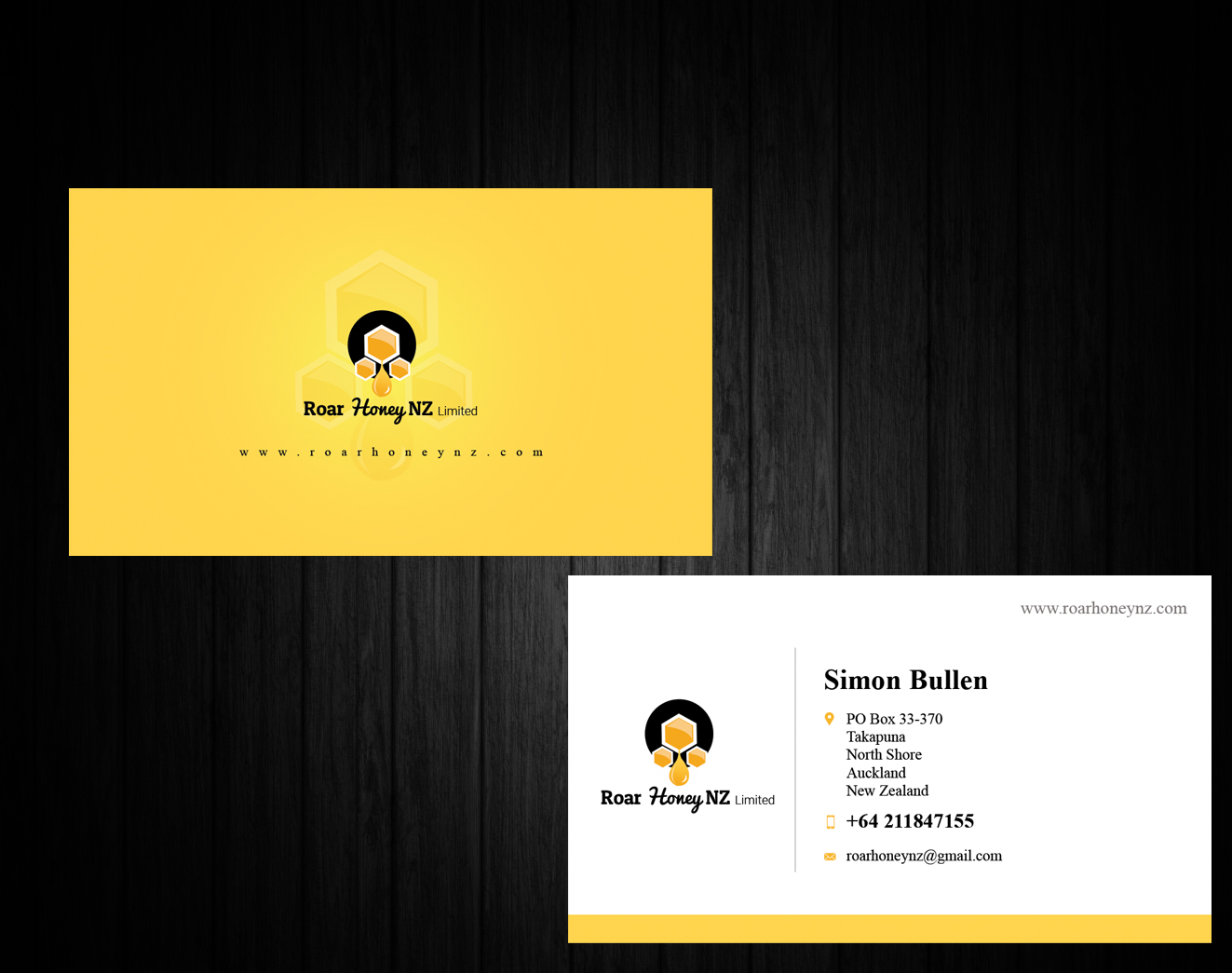 Modern professional wholesale business card design for roar honey business card design by ssensarma for roar honey nz limited design 13831090 reheart Images