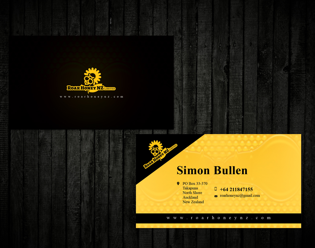 Modern professional wholesale business card design for roar honey business card design by ssensarma for roar honey nz limited design 13836414 reheart Images