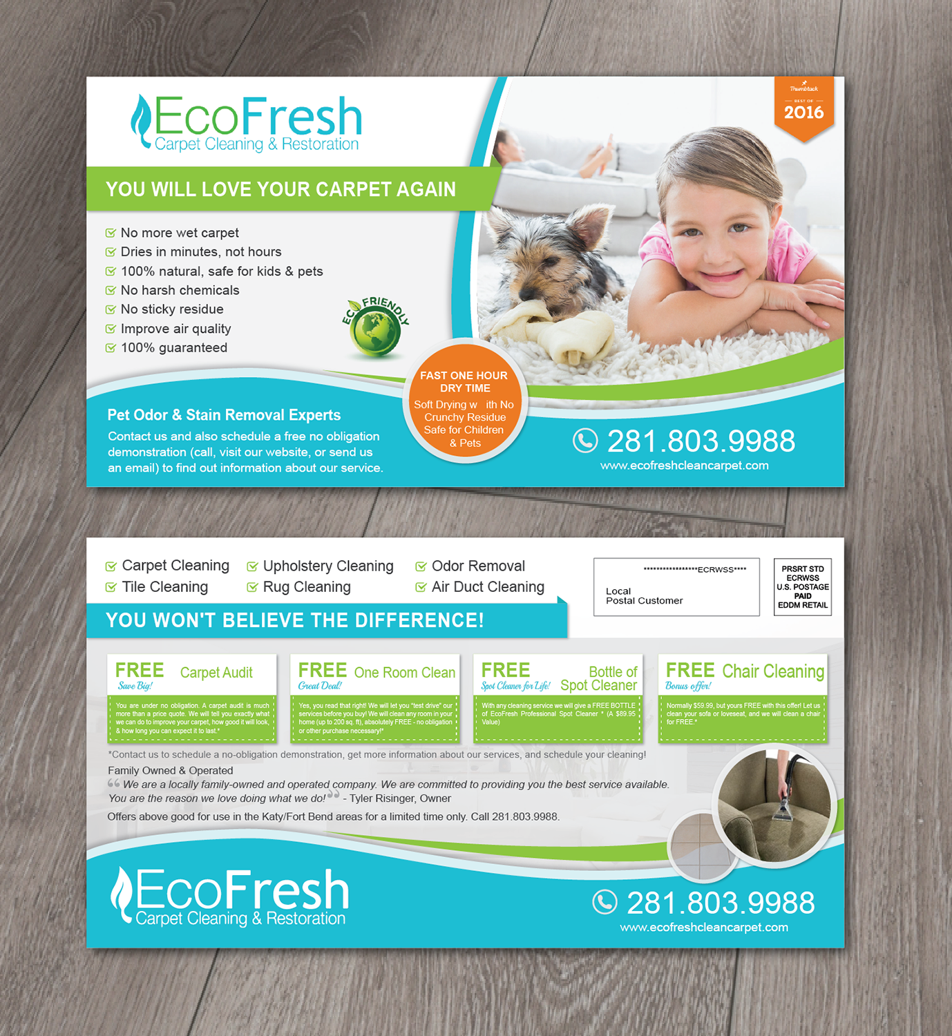 modern bold postcard design for ecofresh carpet cleaning by