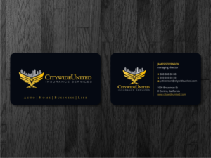 206 serious professional insurance broker business card designs business card design design 13848720 submitted to citywide united insurance services closed sciox Images