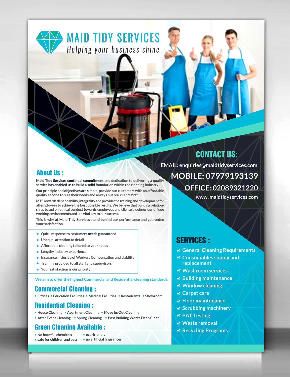 Serious, Professional, Cleaning Service Flyer Design for a Company ...