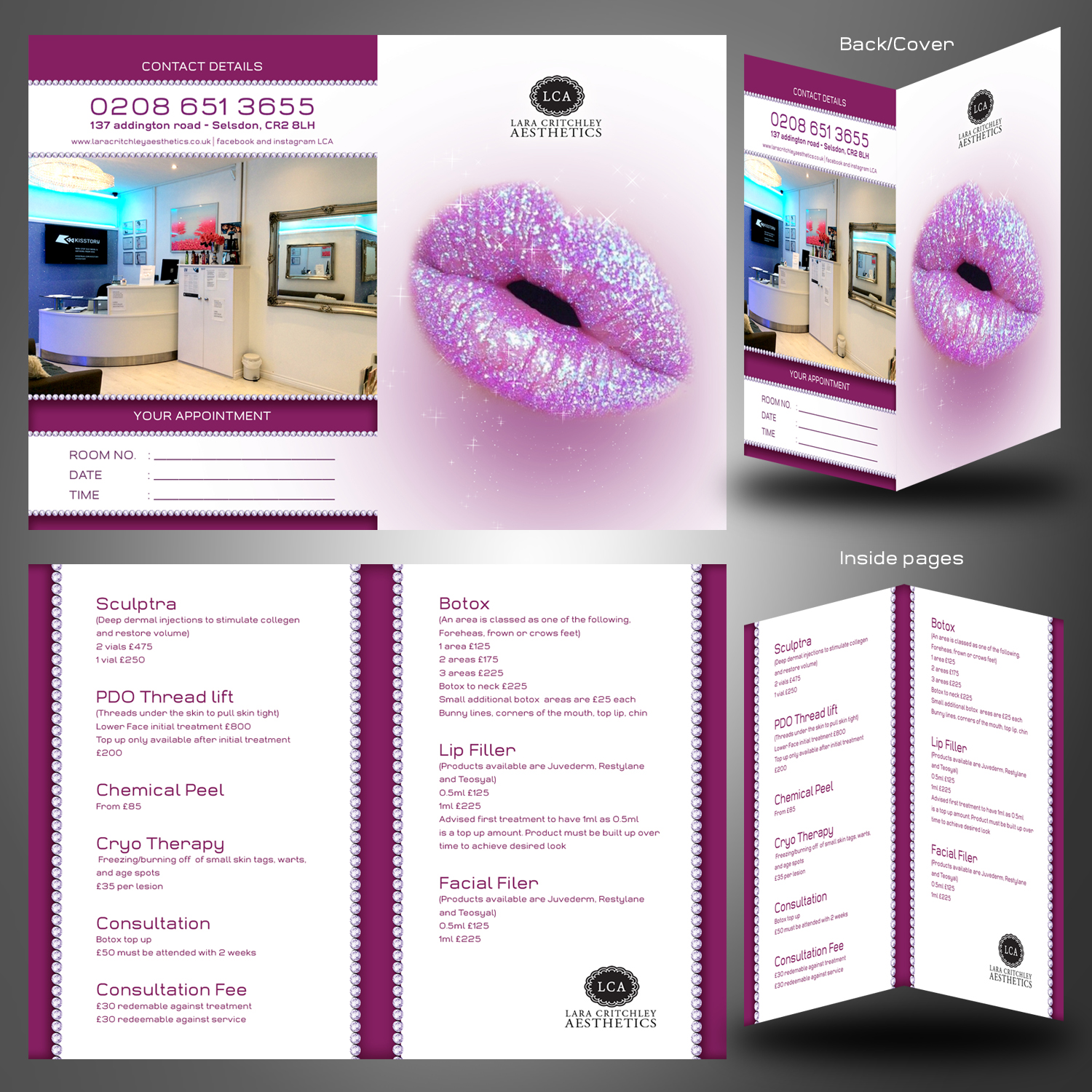 Small 4 page folding business card/price list for botox and lip