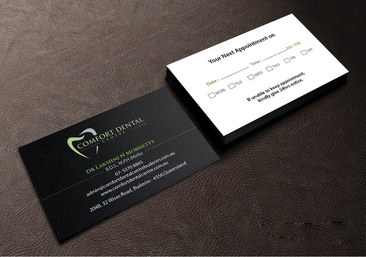 Modern professional business card design for lakshmi morisetty by business card design by creations box 2015 for comfort dental centre buderim business cards and presentation colourmoves