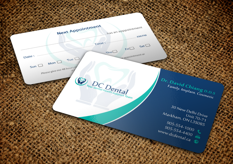 modern professional dental business card design for a company by