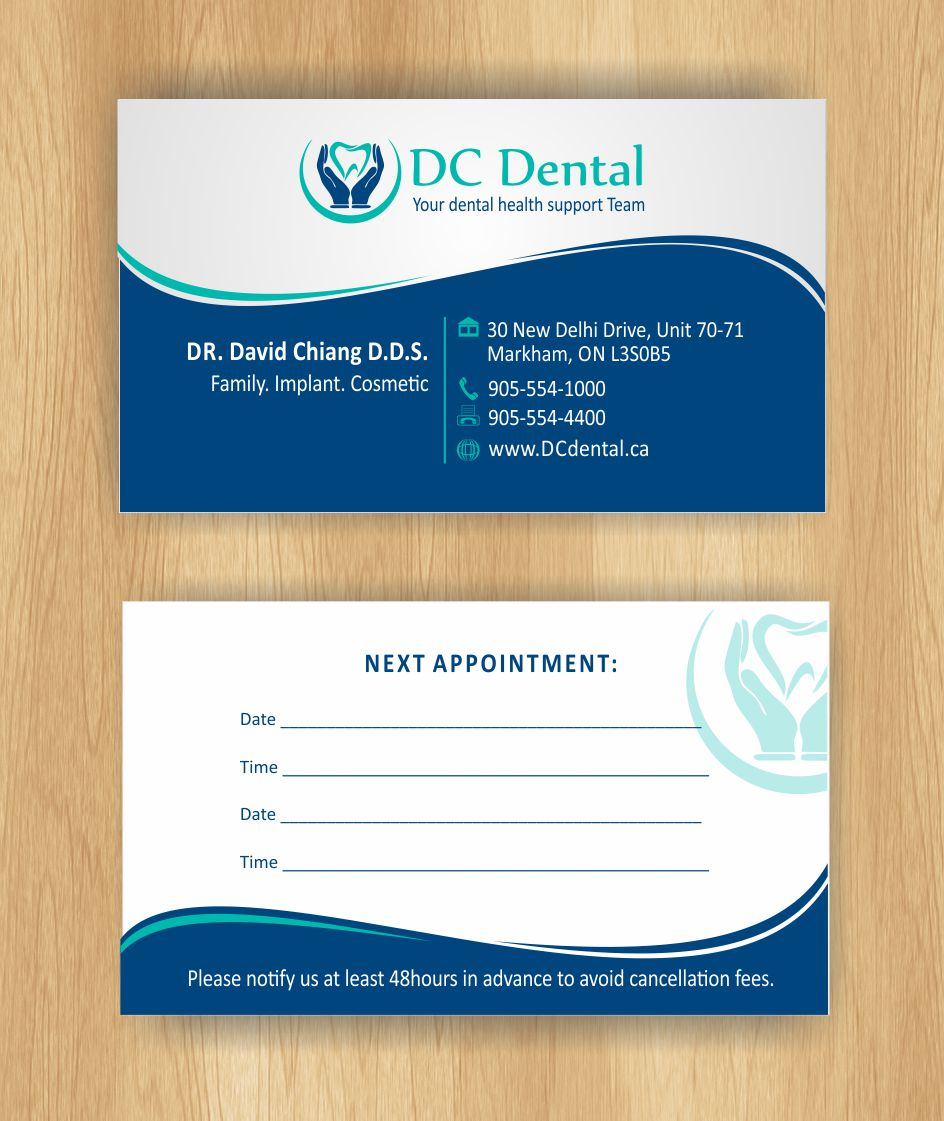 Modern professional business card design for david chiang by business card design by inesero for dc dental business card a family dental practice colourmoves Choice Image