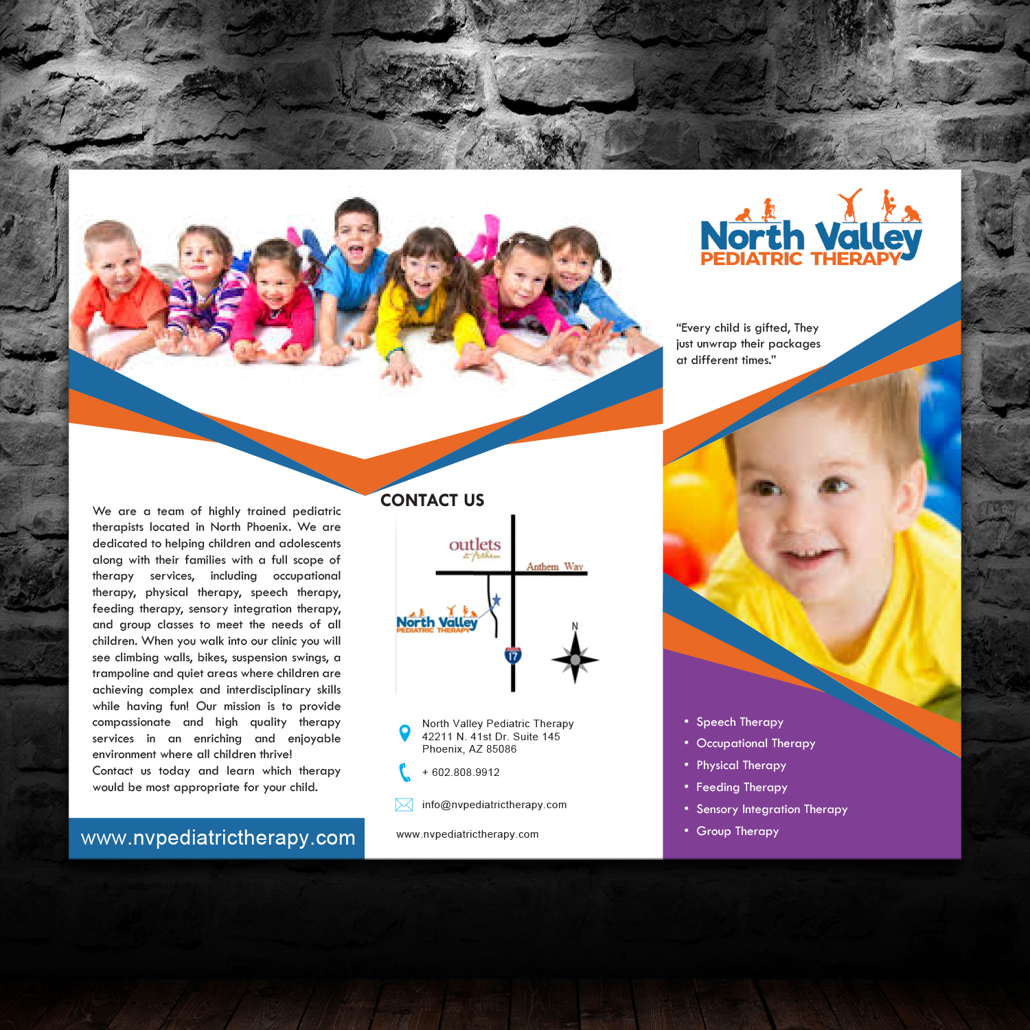 Bold serious brochure design for north valley pediatric therapy by brochure design by theblueart for pediatric therapy clinic brochure design 13964218 altavistaventures Image collections