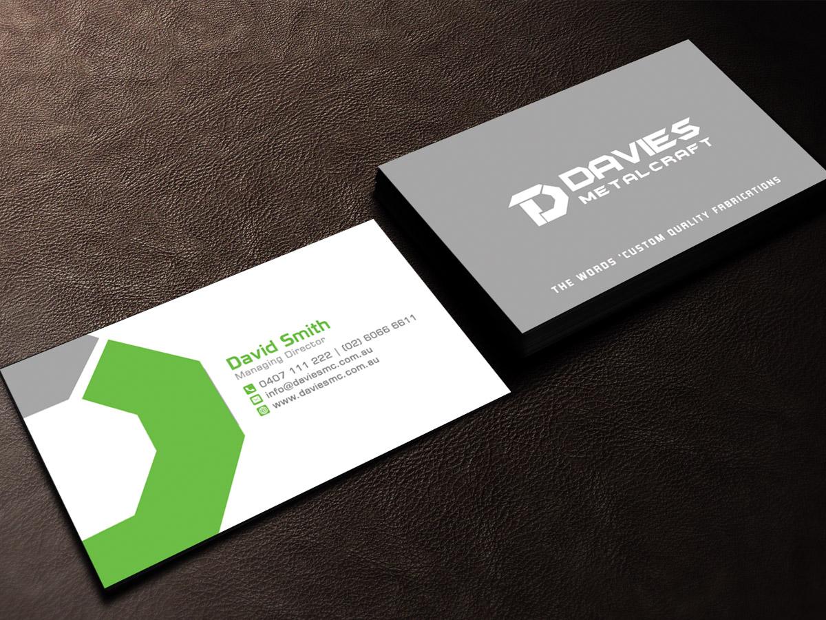 Masculine upmarket metal fabrication business card design for business card design by sandaruwan for davies metalcraft design 13963005 reheart Choice Image