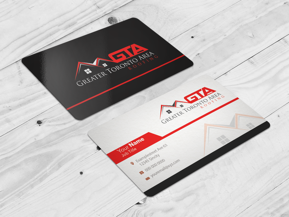 modern professional business card design for gta roofing by riz