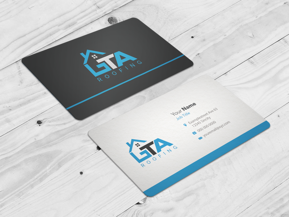 Modern professional roofing business card design for gta roofing business card design by riz for gta roofing design 13997472 reheart Images