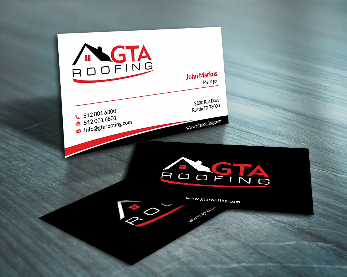 Modern professional roofing business card design for gta roofing business card design by skydesign for gta roofing design 14016090 reheart Images