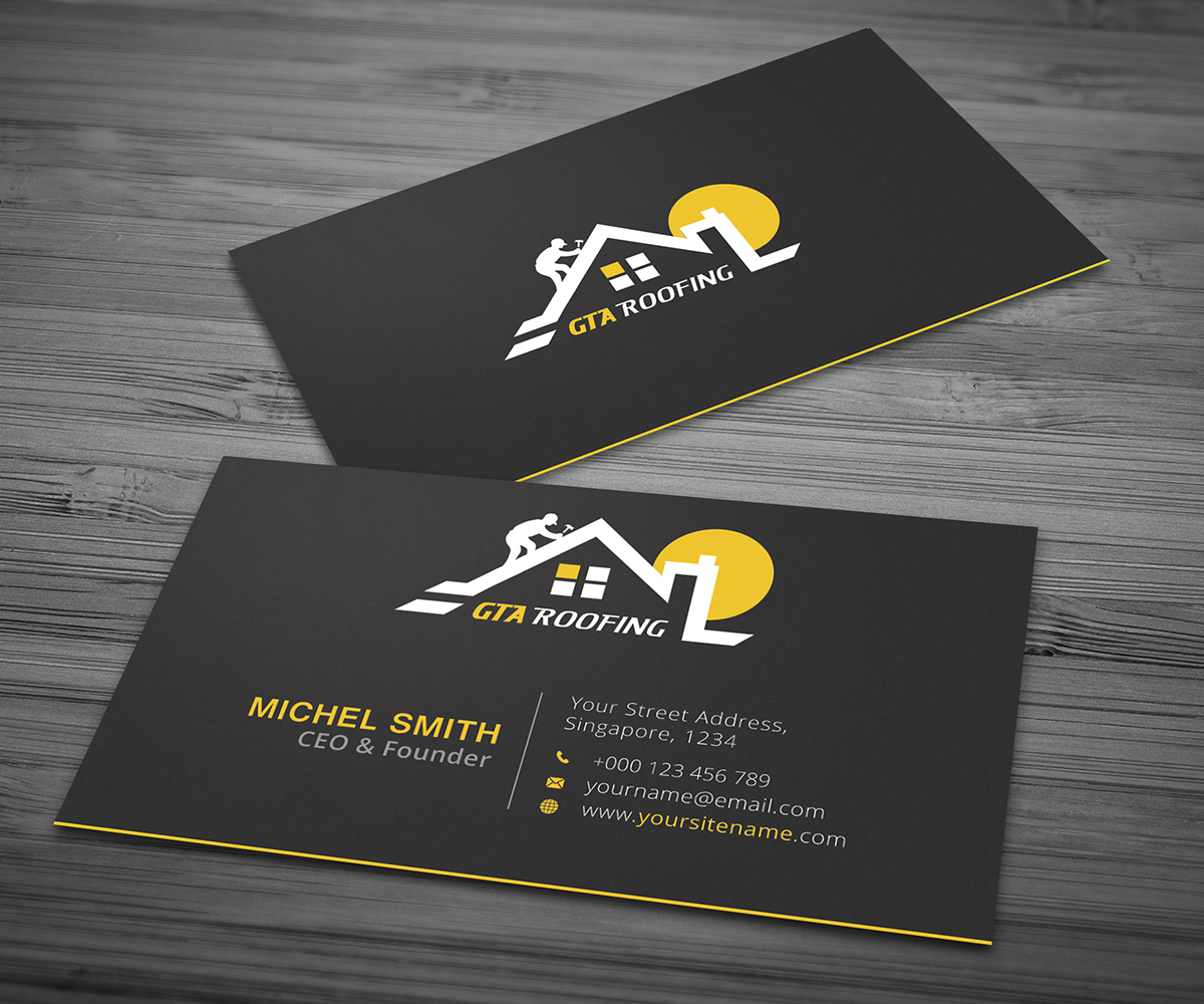 Modern professional roofing business card design for gta roofing business card design by graphic flame for gta roofing design 14042293 reheart Images