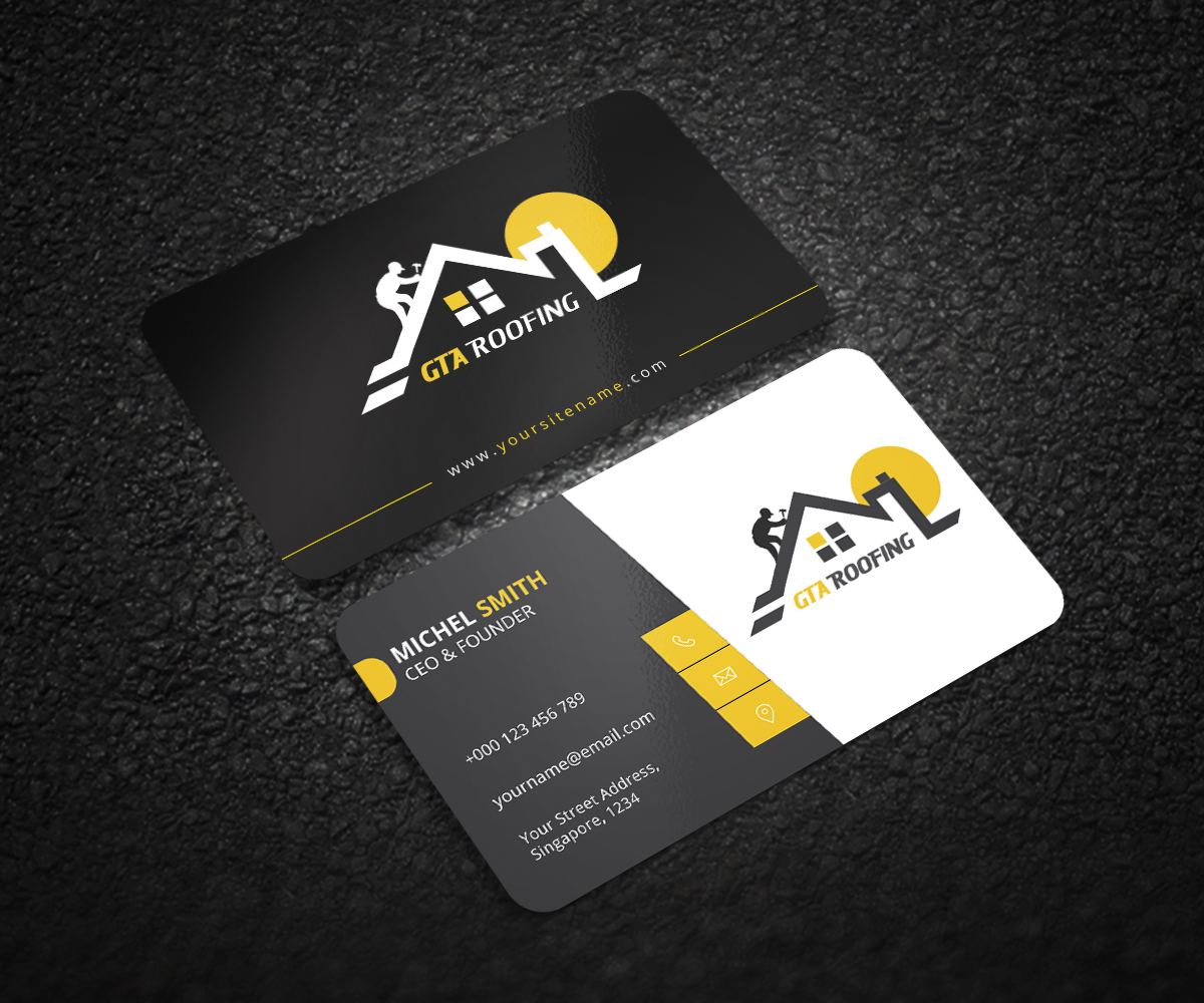 Modern professional roofing business card design for gta roofing business card design by graphic flame for gta roofing design 14042294 reheart Images
