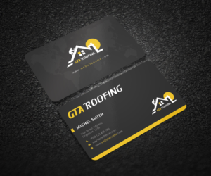 Modern professional business card design job business card brief business card design job roofing company in toronto canada needs a logo design and reheart Image collections