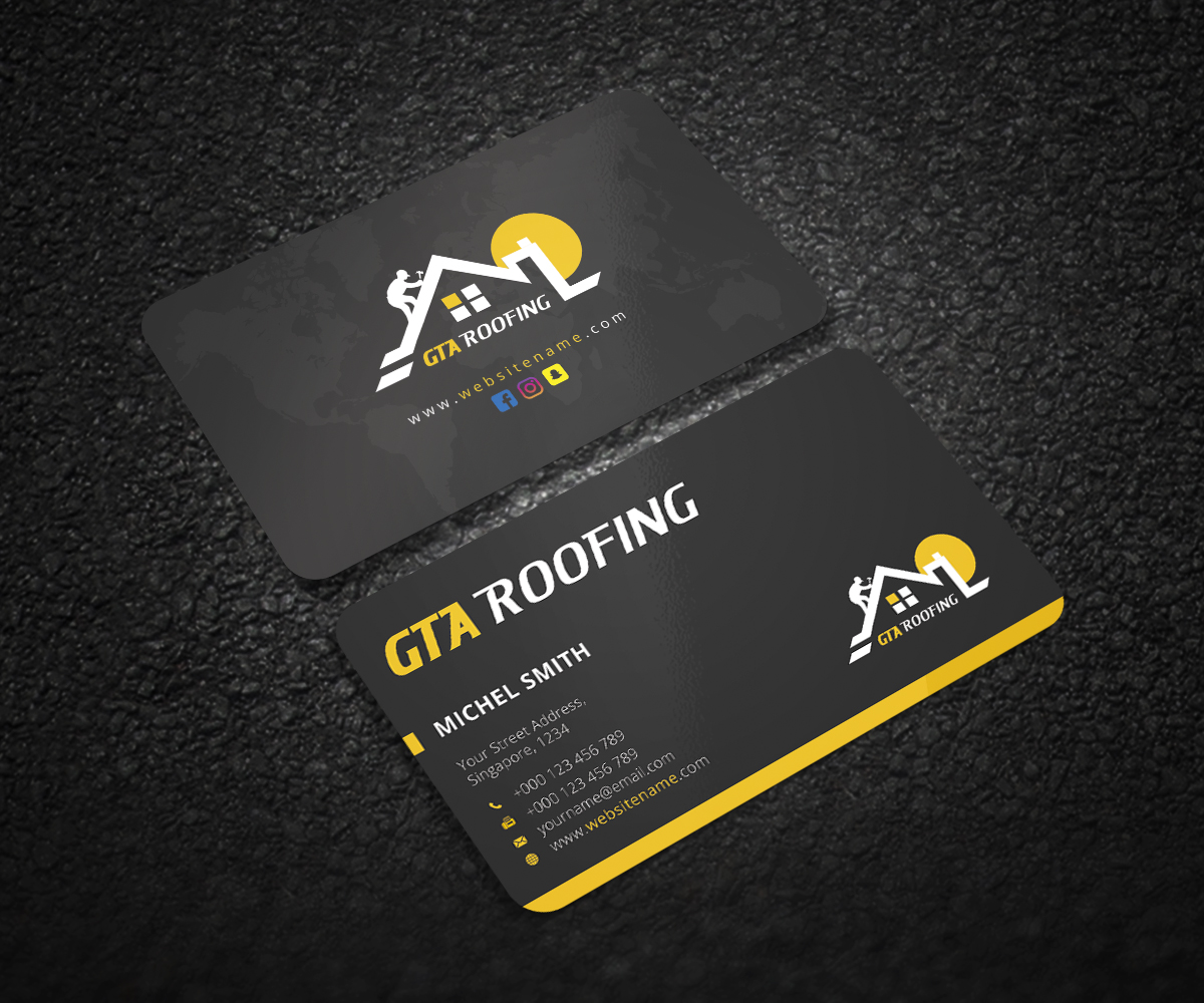 Modern professional business card design for gta roofing by business card design by graphic flame for roofing company in toronto canada needs a logo reheart Choice Image