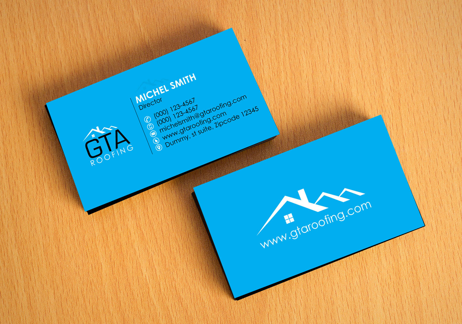 Modern professional roofing business card design for gta roofing business card design by logooffers for gta roofing design 13999641 reheart Images