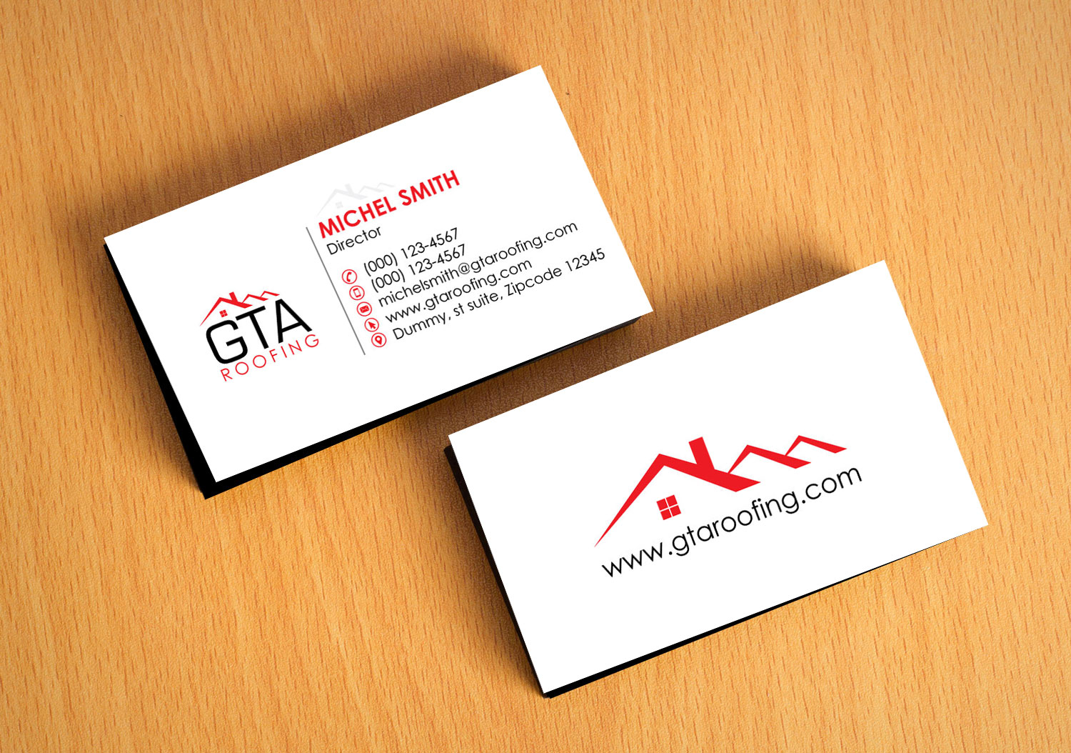 Modern professional roofing business card design for gta roofing business card design by logooffers for gta roofing design 13999644 reheart Images