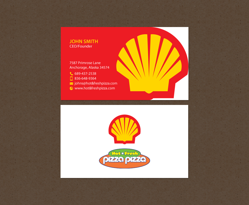 Serious modern restaurant business card design for shell gas business card design by chandrayaaneative for shell gas station design 14064493 colourmoves
