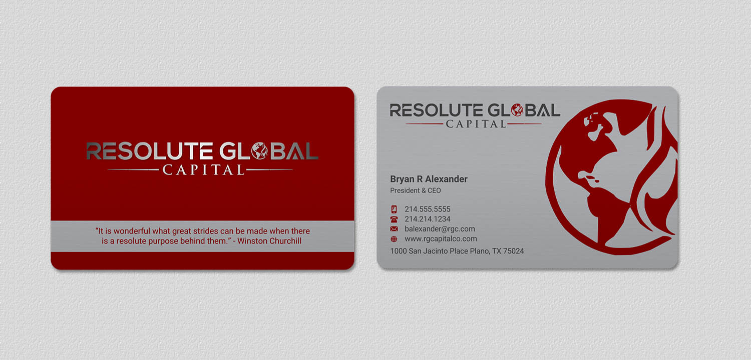 Serious professional business business card design for resolute business card design by indianashok for resolute global capital design 14014011 colourmoves