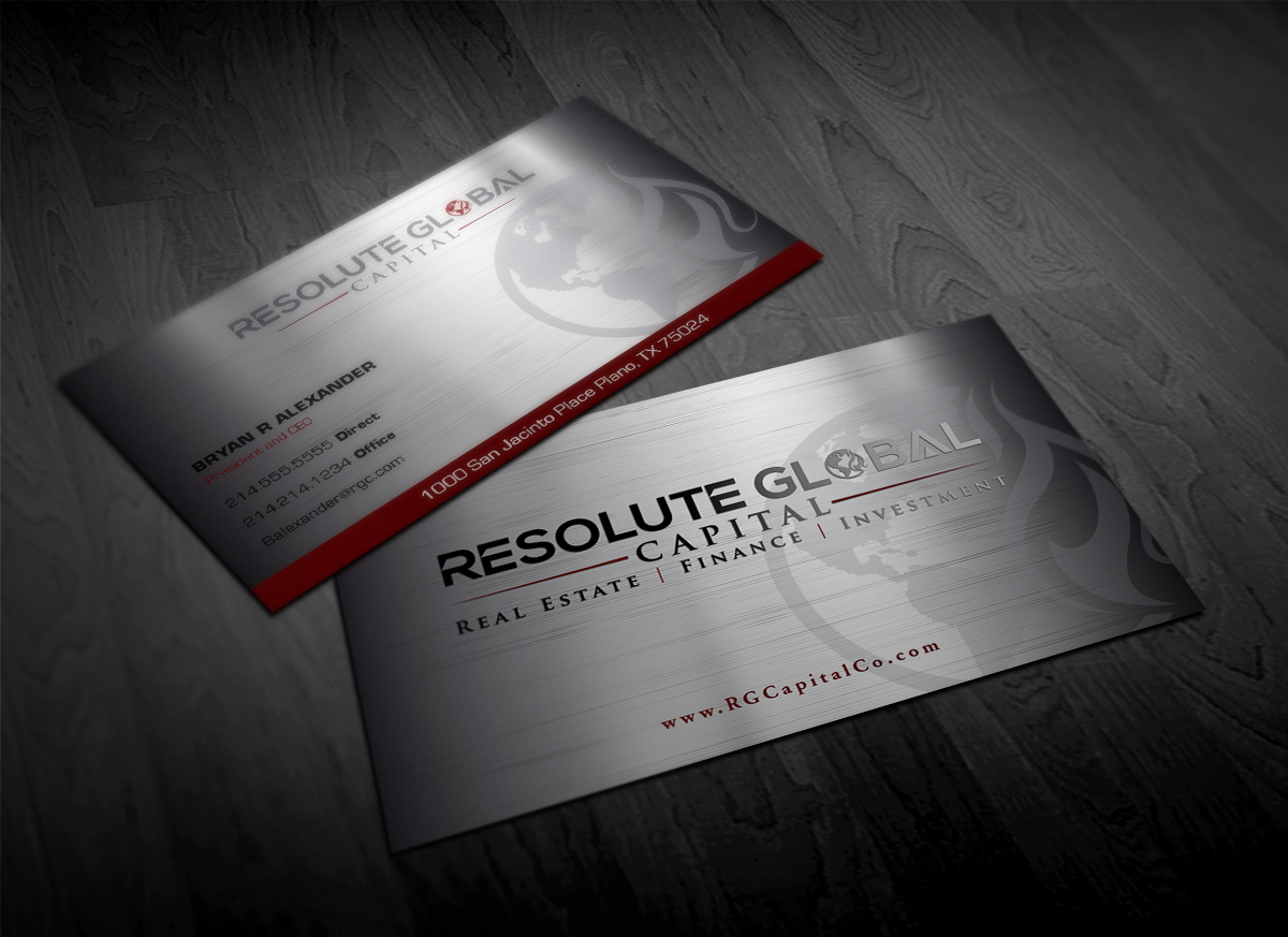 Serious professional business card design for resolute global business card design by pointless pixels india for classy business card that means business needed colourmoves