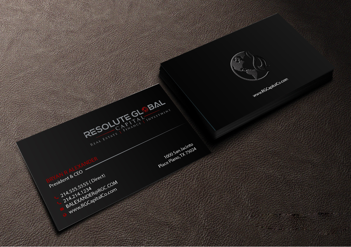 Serious professional business card design for resolute global business card design by creations box 2015 for classy business card that means business needed colourmoves