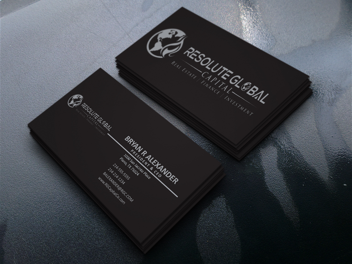 Serious professional business card design for resolute global business card design by tracejasim for classy business card that means business needed design magicingreecefo Image collections