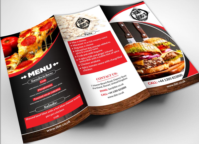 playful modern restaurant menu design for rocking boat restaurants