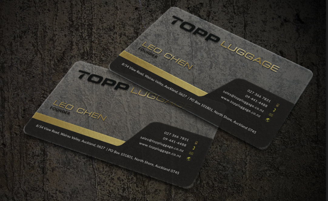 professional elegant business card design for topp luggage by