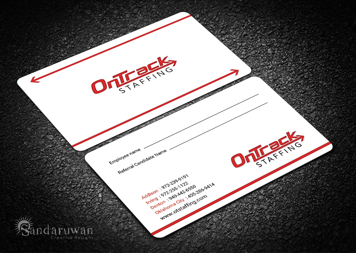 Bold modern business card design for ontrack staffing by bold modern business card design for company in united states design 14233122 magicingreecefo Images