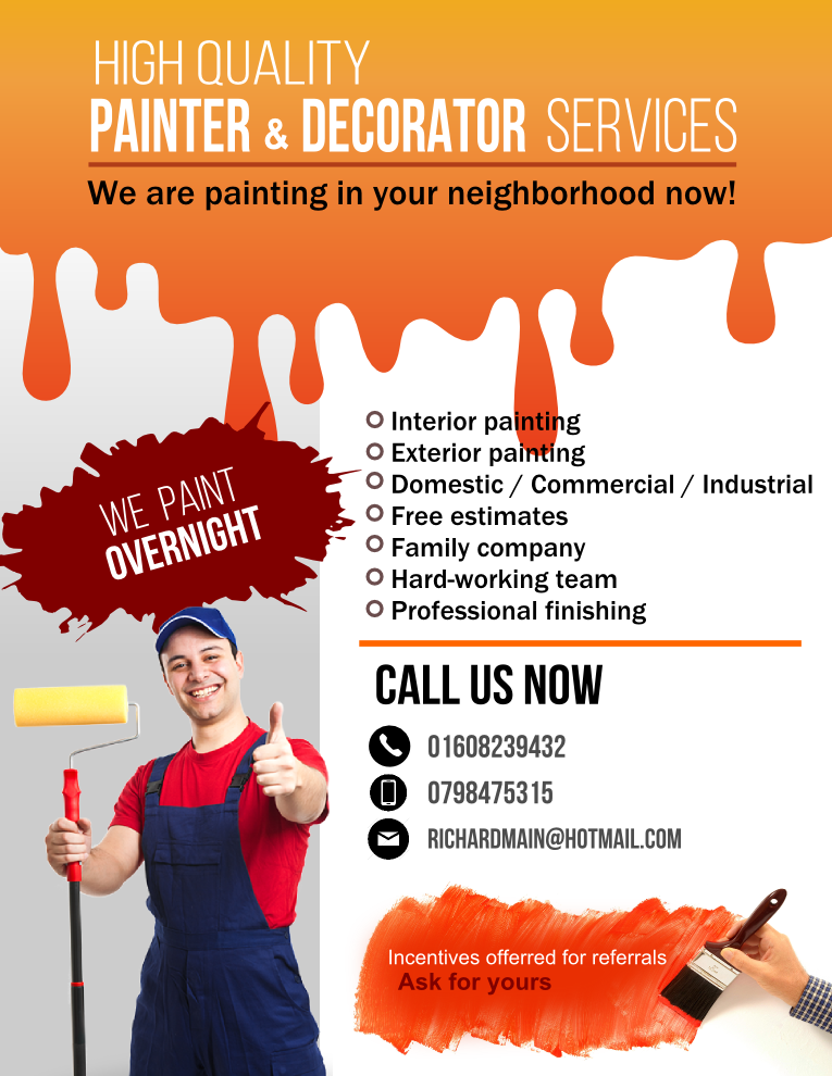 ironing service flyer template - modern colorful painting flyer design for a company by