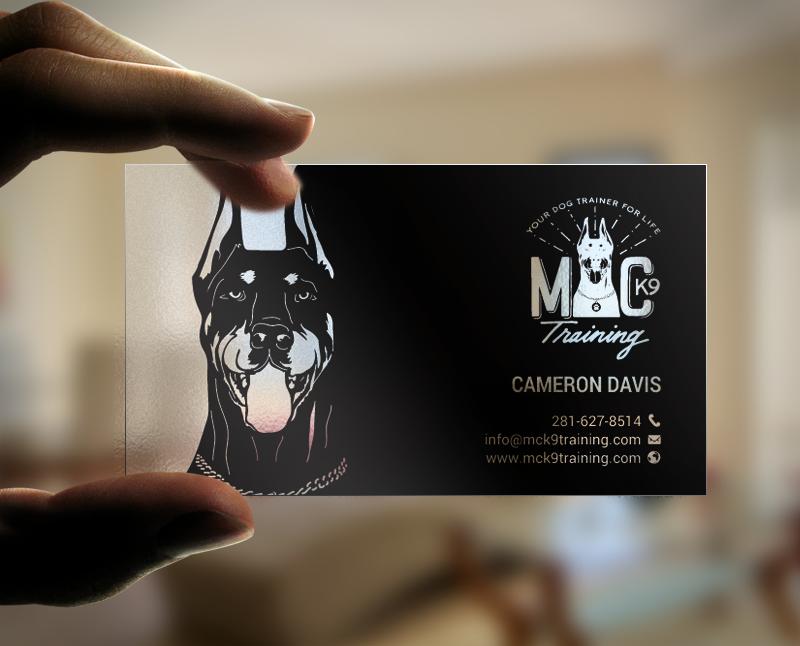 Serious modern dog training business card design for mc k9 business card design by chandrayaaneative for mc k9 training design 16363349 colourmoves