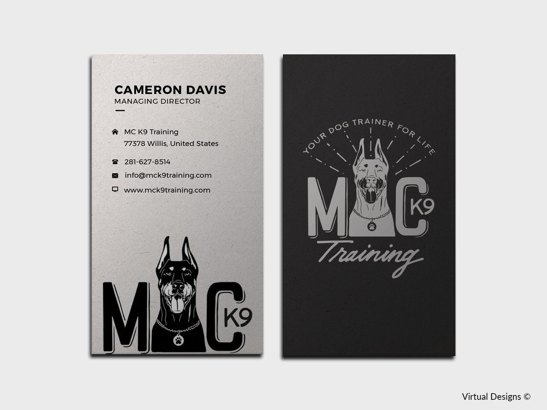Serious modern dog training business card design for mc k9 business card design by virtual designs for mc k9 training design 16343159 colourmoves