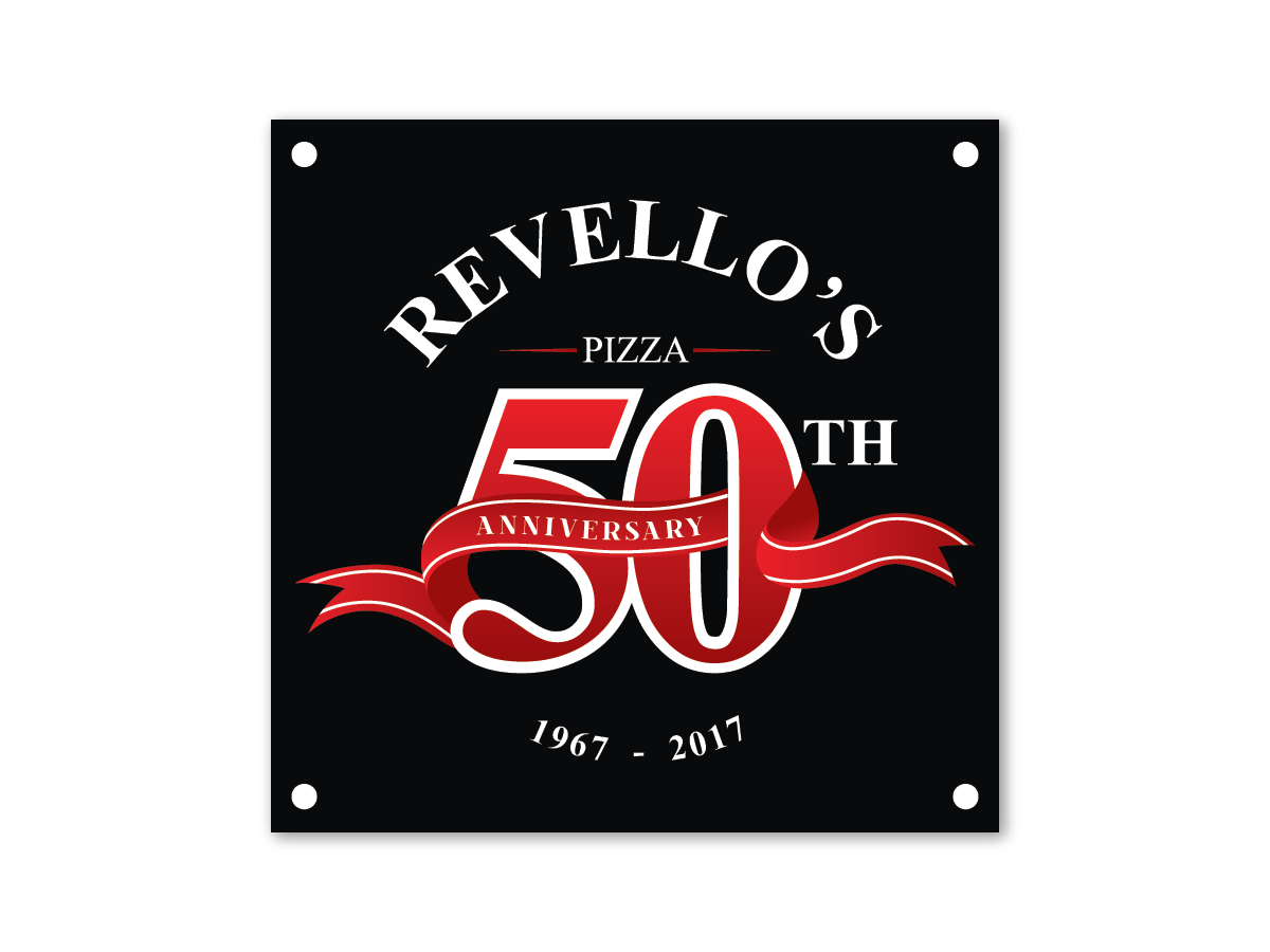 Bold Traditional Restaurant Logo Design For Revello S Pizza 50th Anniversary By Yoza Design 14232521