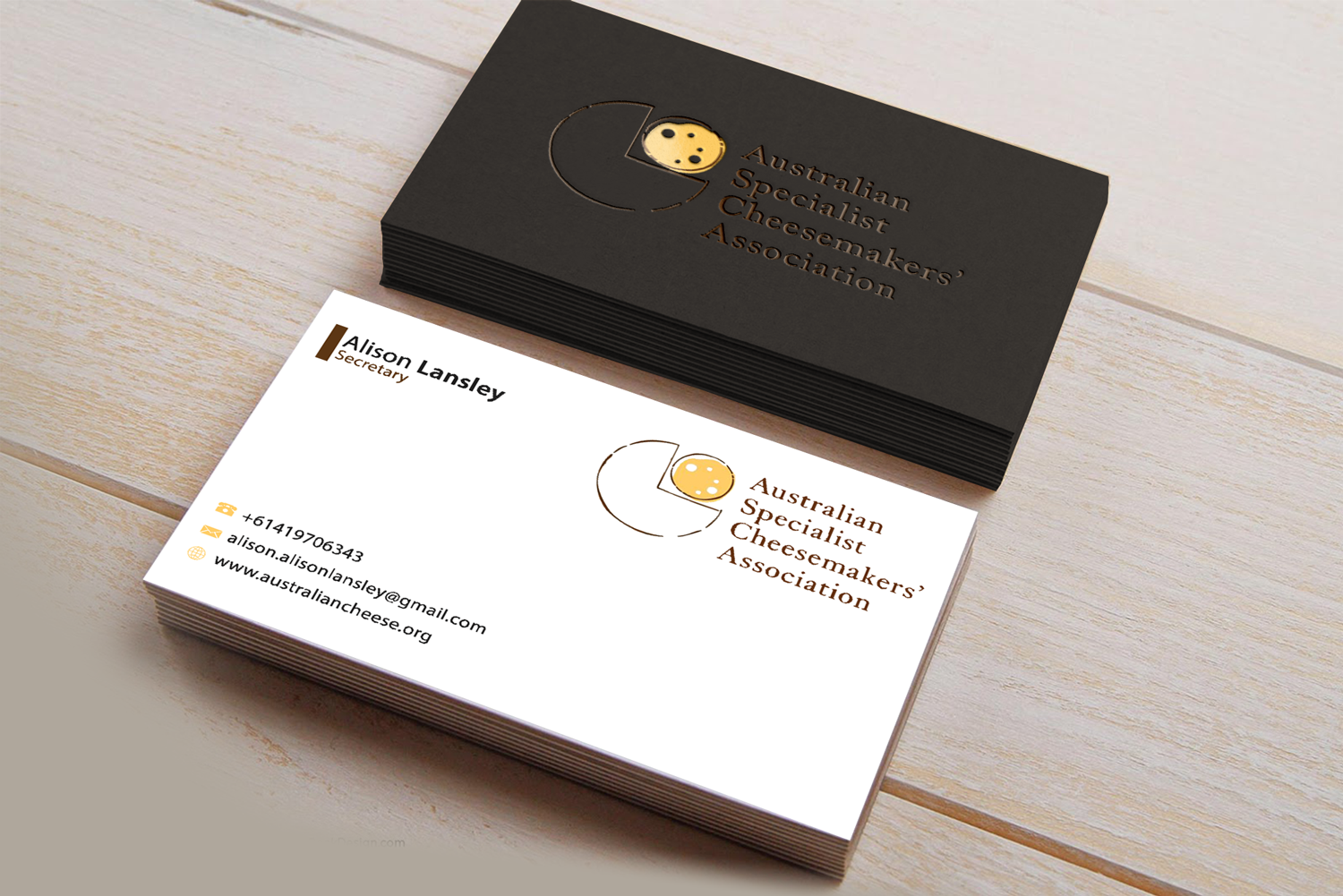 Design De Carte Visite Par Riz Pour Australian Specialist Cheesemakers Association