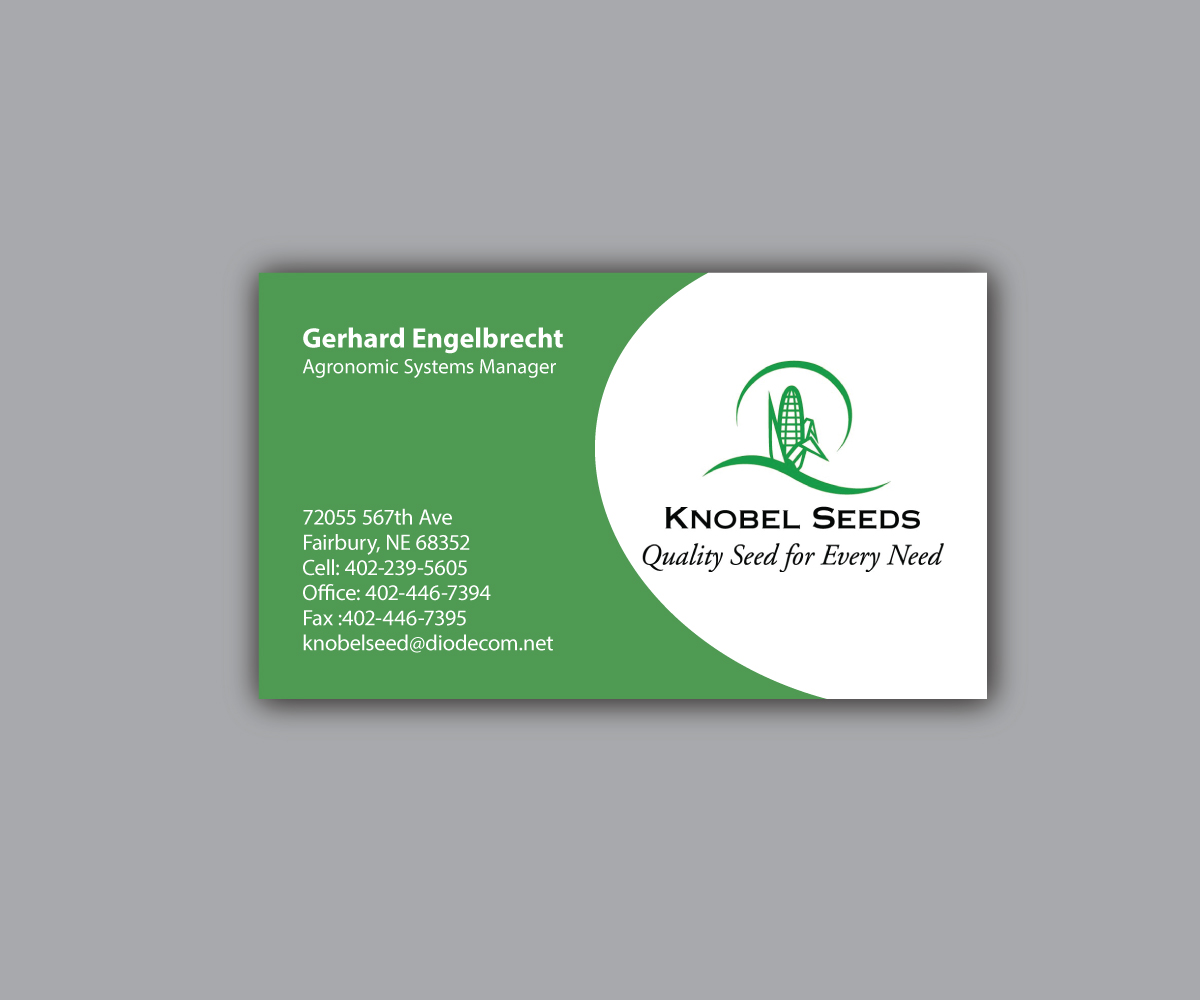 Business Business Card Design For Knobel Seeds By Mpirs Design
